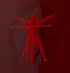Leonardo Da Vinci Vetruvianischer Mann, Mensch, rot