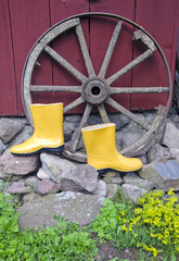 yellow rubber boots near carriage wheel