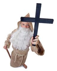 monk holding a crucifix