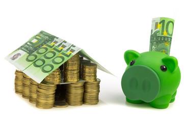 Eurohaus mit Sparschwein