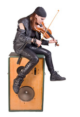 rocker woman with a violin