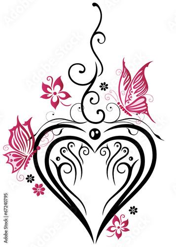 Fototapeta Hochzeit Grosses Herz Mit Blumen Und Schmetterlingen In