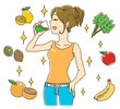 スムージーを飲む女性(オレンジ色タンク)