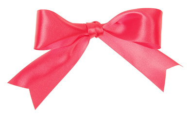 Bow of wide red ribbon