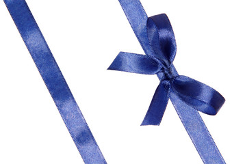 Blue ribbons arranged obliquely with bow
