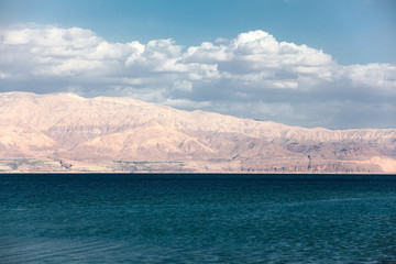 Dead Sea with mountain view