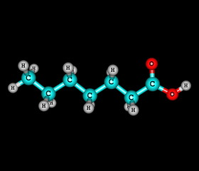 Heptanoic (enanthic) acid molecule isolated on black