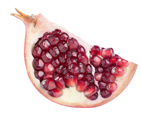 One pomegranate quarter slice isolated on white background profi