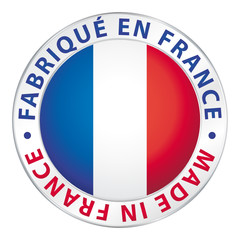 Fabriqué en France. Made in France. Flag icon button.