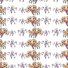 Seemless pattern of doodle dog