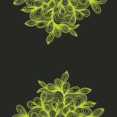 Yellow Background Floral Ornament Flower Grey Lace