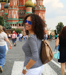 Beautiful woman in red square, Moscow, Russia