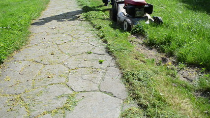 gardener man cut grass lawn with mower cutter near stone path