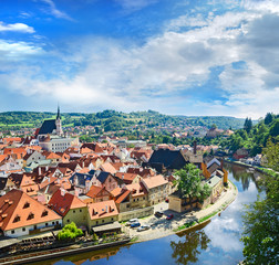 Krumlov town from castle , Czech