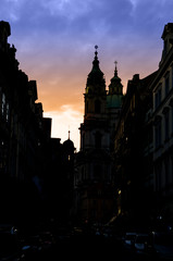 Prague spires in the sunset light, silhouette
