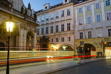 tram at night in Prague