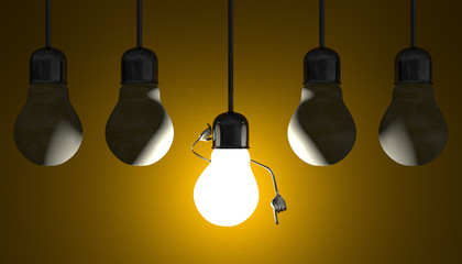 Light bulbs in sockets, moment of insight on yellow