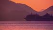 Cruise ship at Sunset. Calm. HD 1080.