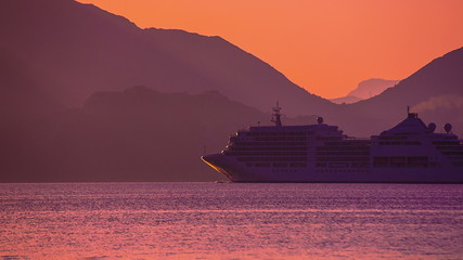 Cruise ship at Sunset. Calm. HD 1080.