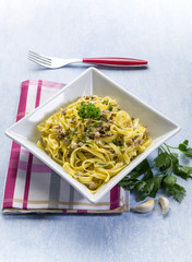 tagliatelle with clam parsley and garlic