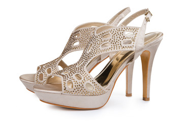 Elegant female stiletto shoes with rhinestones