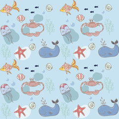 Fish nautical seamless pattern