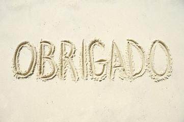 Obrigado Thank You Message in Sand