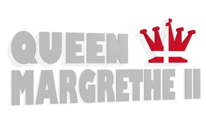 queen margrethe II 3D text and chess queen figure