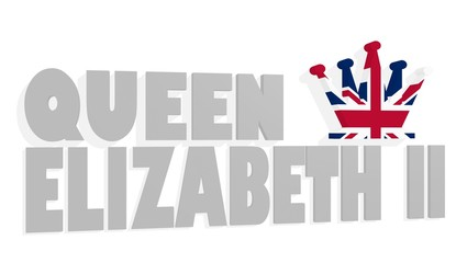 queen elizabeth II 3D text and chess queen figure