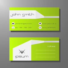Business card template - green and white design