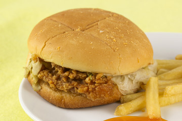 Close up crispy chicken burger with french fried