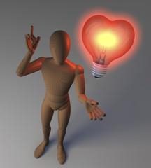 Holzfigur mit Glühlampe, Herzform, Symbol für Idee und Liebe