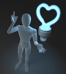 Figur mit blauer Neonlampe, Herzform, Symbol für Idee und Liebe
