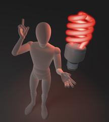 Figur mit roter Neonlampe, Symbol für Idee und Nachhaltigkeit