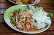 Thai papaya salad serve with vegetables