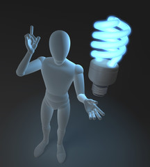 Figur mit blauer Neonlampe, Symbol für Idee und Nachhaltigkeit