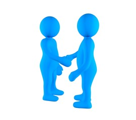 Two 3d partners are shaking hands on white background