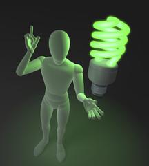 Figur mit grüner Neonlampe, Symbol für Idee und Nachhaltigkeit