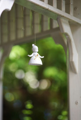angel ceramic doll hang in garden