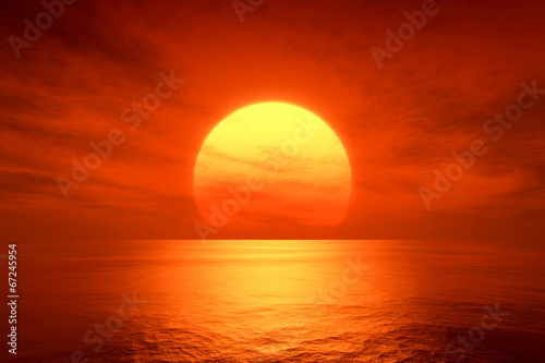 canvas print picture red sunset