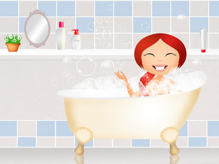girl in bath