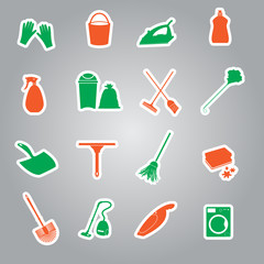 cleaning stickers set eps10