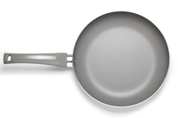 Gray Teflon Pan on White background Top view