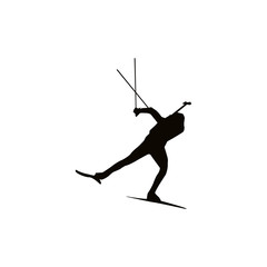 biathlon silhouette black on white background