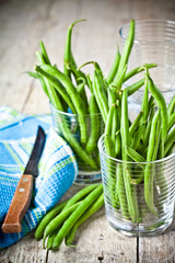 green string beans in glasses