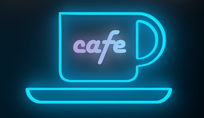neon bulb cup icon with cafe text