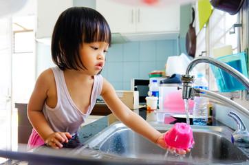 little girl do housework