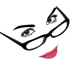 Vector of smart beautiful woman with glasses