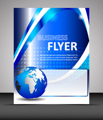 Business flyer template, brochure with globe