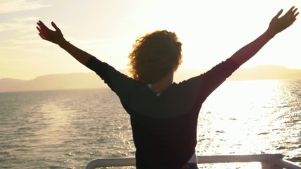True Happiness. Free Inspired Woman Enjoying Sunrise. Beautiful